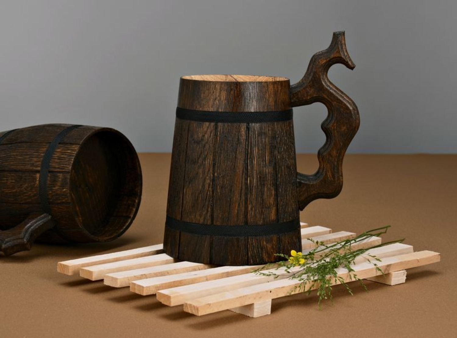 Amazon.com   Handmade wooden brown beer mug with carved handle great gift ideas: Beer Mugs & Steins