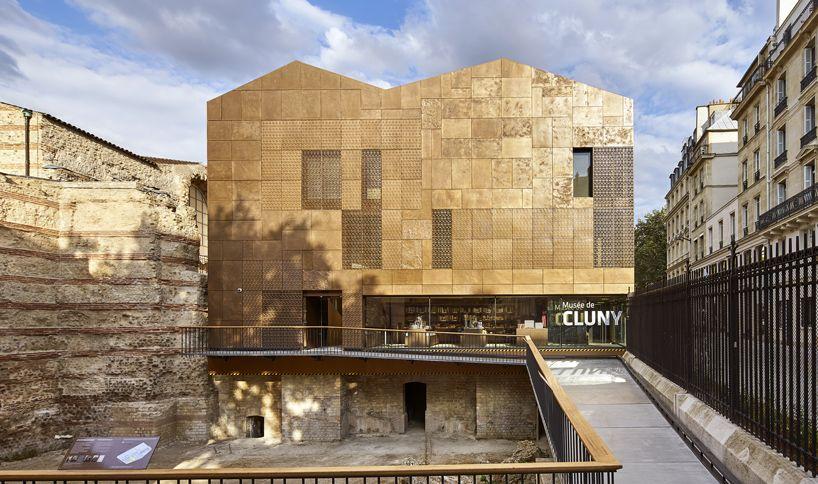 paris 'musée de cluny' receives new facade influenced by