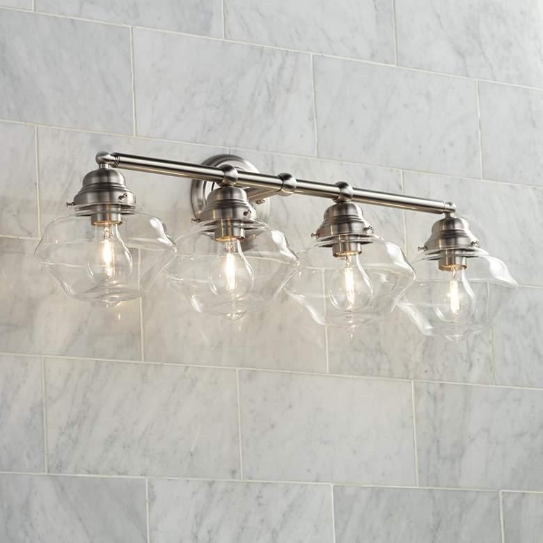 Possini Euro Astrid 30 3 4 Wide Nickel, Possini Bathroom Lighting