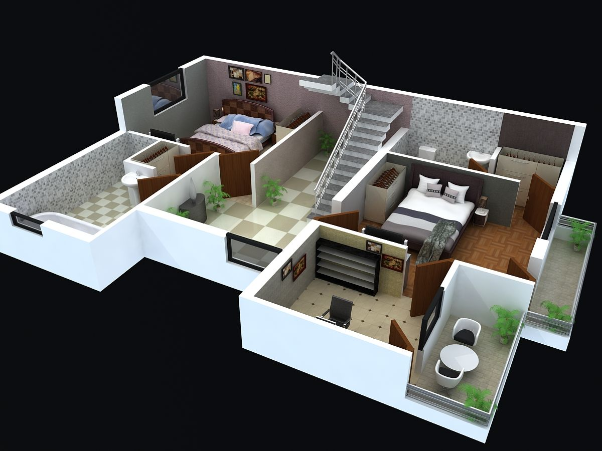 Floor plan for modern triplex 3 floor house click on for 3d plan drawing
