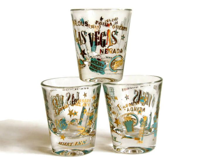 Souvenir Shot Gles Old Las Vegas Mid Century Barware Aqua Gold Stars