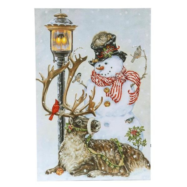 Winter Wonderland Snowman And Reindeer Canvas Print Wall Art With Led Lights Wha657 Wall Art Prints Canvas Print Wall Wall Prints