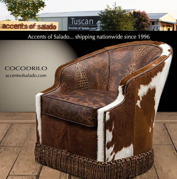 New Cowhide And Crocodile Leather Chair At Accents Of Salado