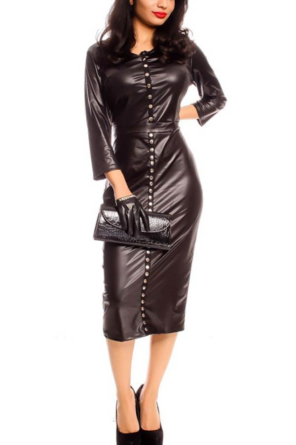 Black Button Up Long Sleeve Faux Leather Dress @ Long Sleeve ...