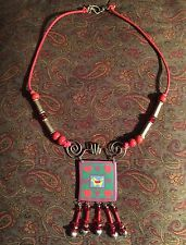 Funky Bird Heart Artsy Necklace Coral color Wood Rope EUC