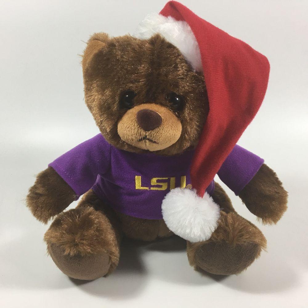 Lsu Tigers 9 Holiday Plush Bear Stuffed Animal W Santa Hat Ncaa