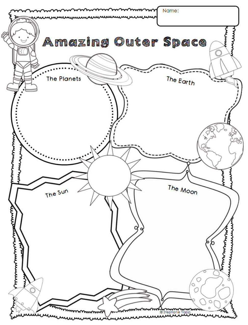 Amazing Outer Space Graphic Organized Worksheets For Kids Graphic Organizers Space Activities For Kids [ 1273 x 973 Pixel ]