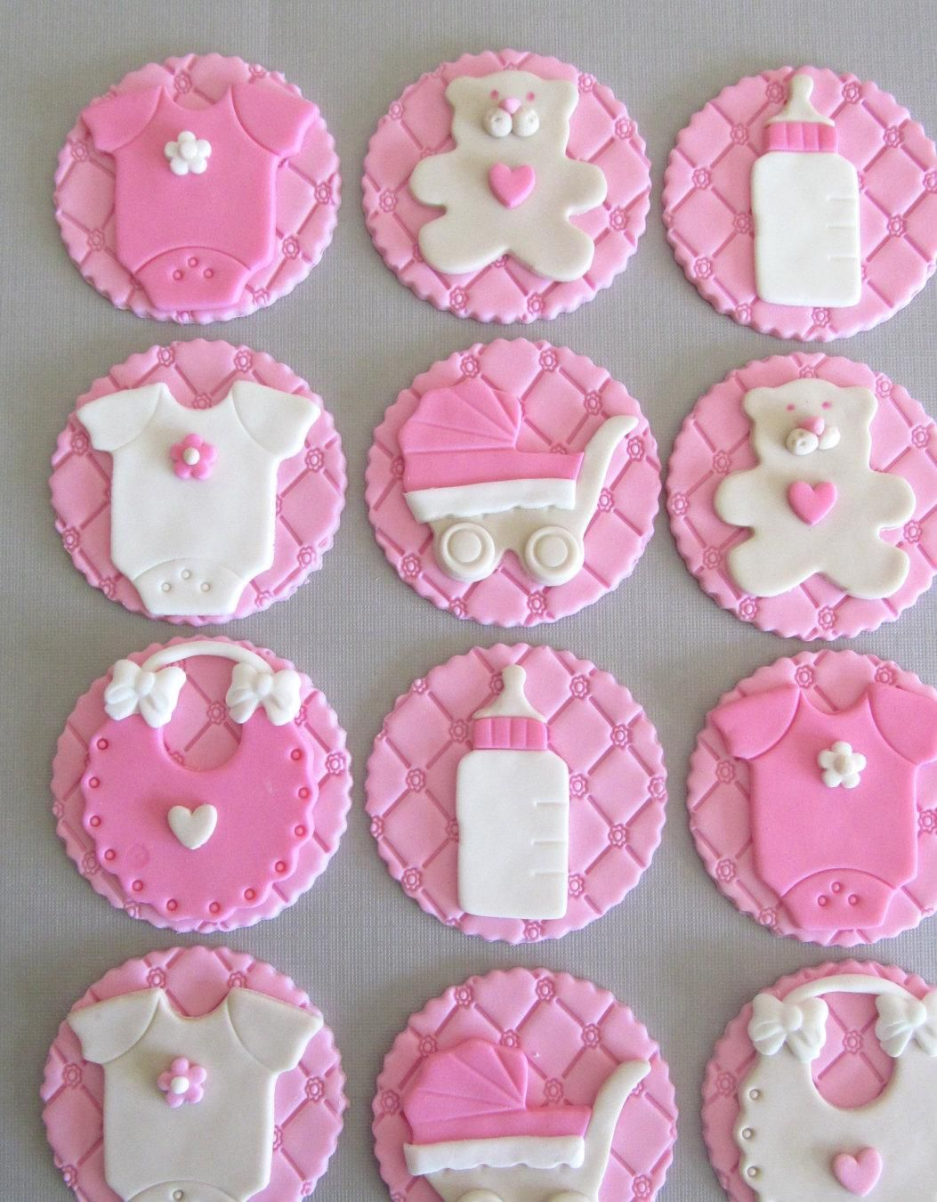 Baby shower cupcake toppers fondant http for Baby shower cupcake decoration ideas