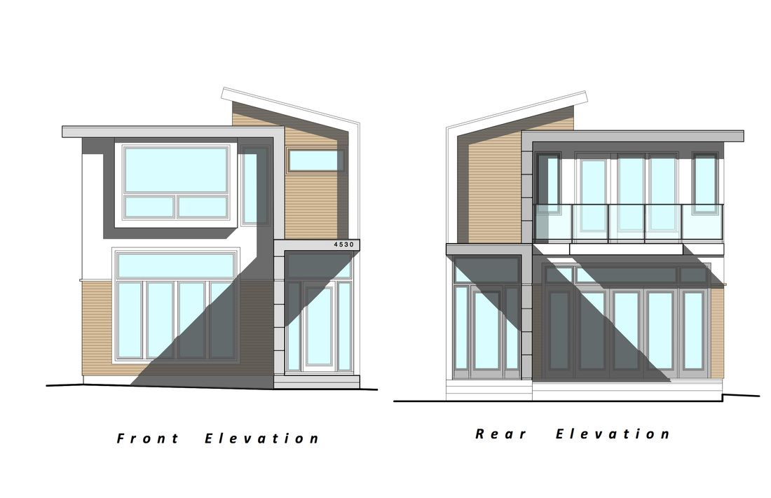 Our next project custom modern home elevation drawings by for Elevation house plans