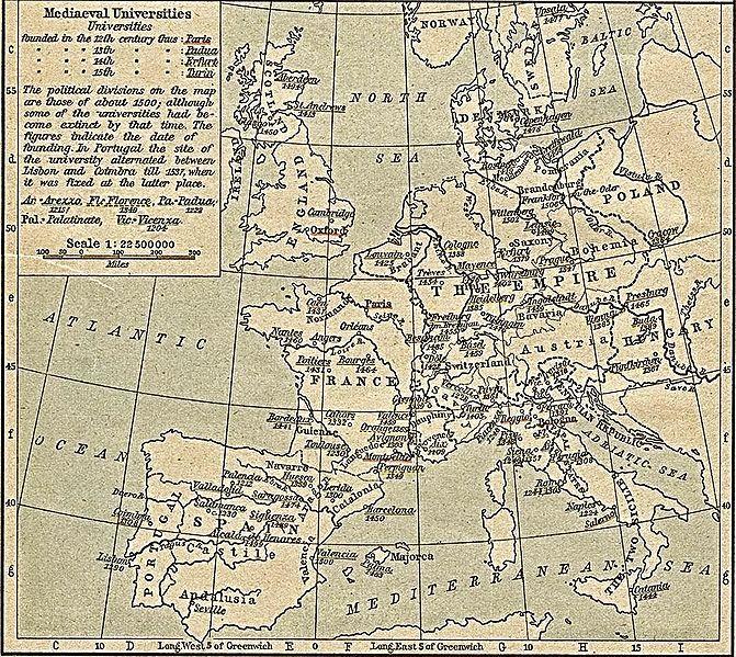 Map Of Medieval Universities From Shepherd S Historical Atlas