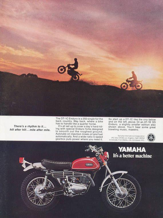 Yamaha Motorbike Ad Dt 1c Enduro Motorcyle Vintage With Images