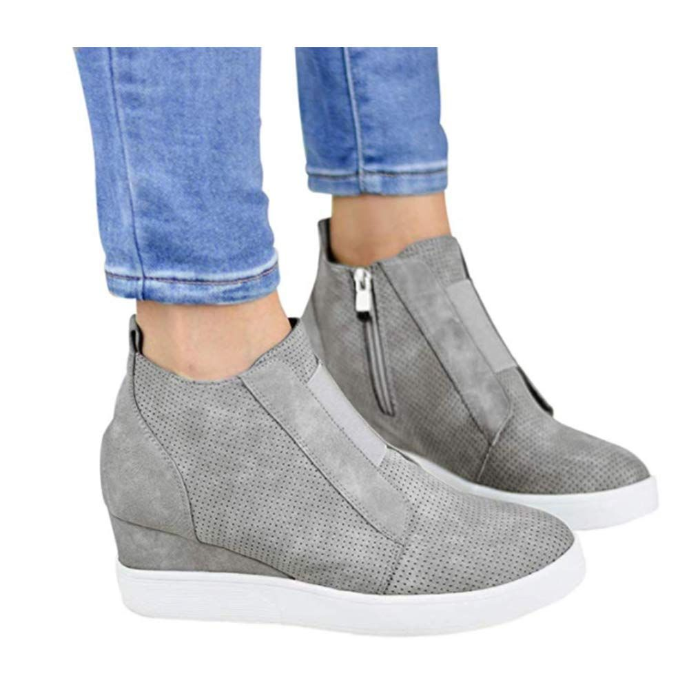 e5d739407ea8f Amazon.com | Youngdemo Women's Wedge Shoes High Top Sports Shoes ...