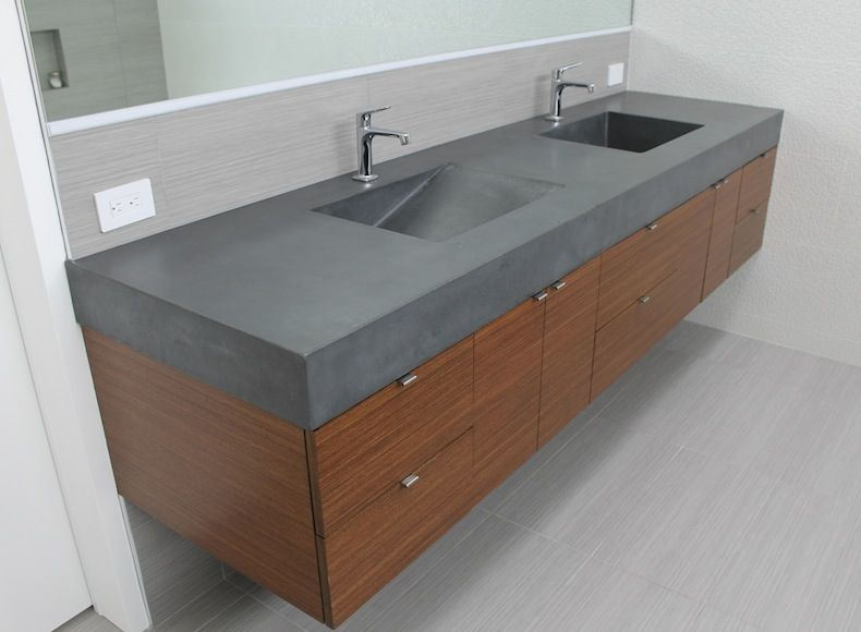 Grey Concrete Bathroom Sinks | Concrete Countertops Design And Fabrication  | 5 Feet From The Moon