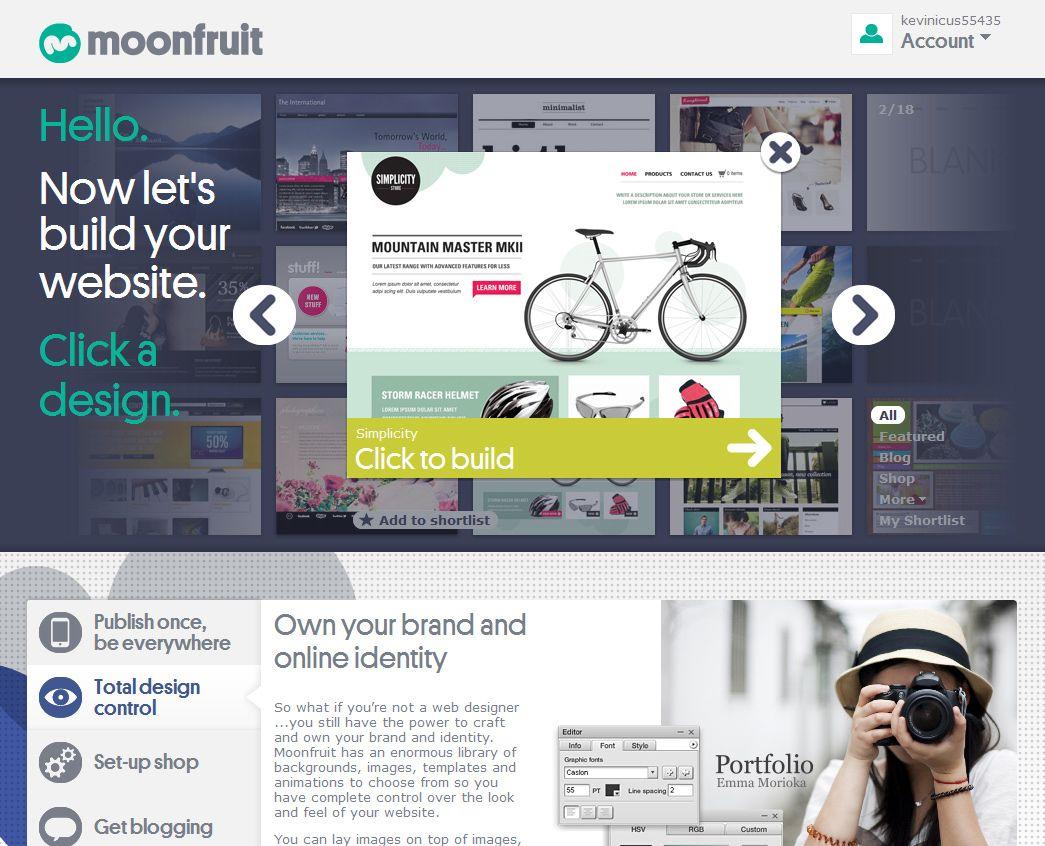 Build a website, shop or blog at Moonfruit. Hundreds of