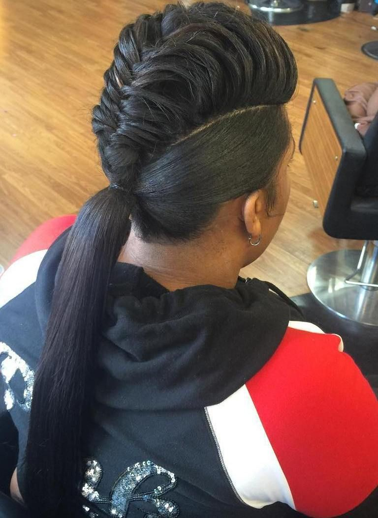 Mohawk braid into pony for black women coiffures pinterest