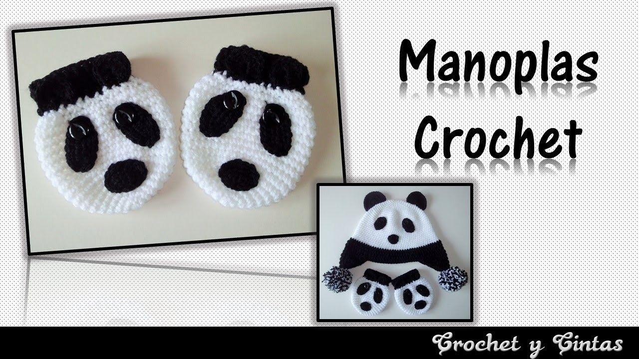 Manoplas - mitones oso panda para niños tejidas a crochet | Crochet ...
