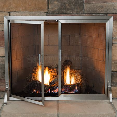 Lumino Stainless Steel Fireplace Screen With Doors Fireplace