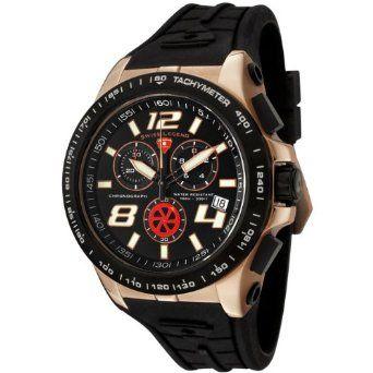 Amazon.com: Swiss Legend Men's 80040-RG-01-BB Sprint Racer Collection Chronograph Black Rubber Watch: Watches