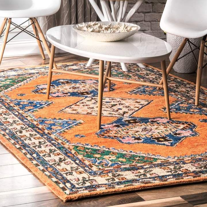 World Menagerie Calne Hand Knotted Wool Orange Green Area Rug