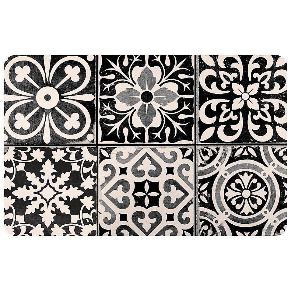 Foflor Ceramic Tile 23 X 36 Kitchen Mat In Black White Bed Bath Beyond Kitchen Mat Ceramic Tiles Black Ceramic Tiles