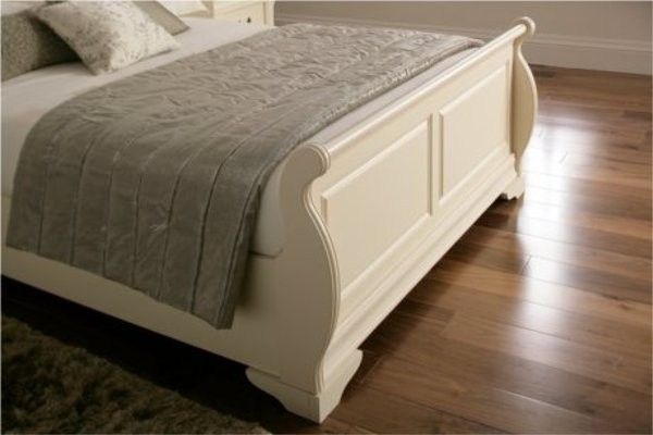 Sleigh Bed Frame From Solid Mahogany Wood With Queen Size This