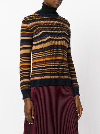 136eeb5028f Prada Striped Chunky Knit Jumper - Farfetch   Prjón   Chunky knit ...