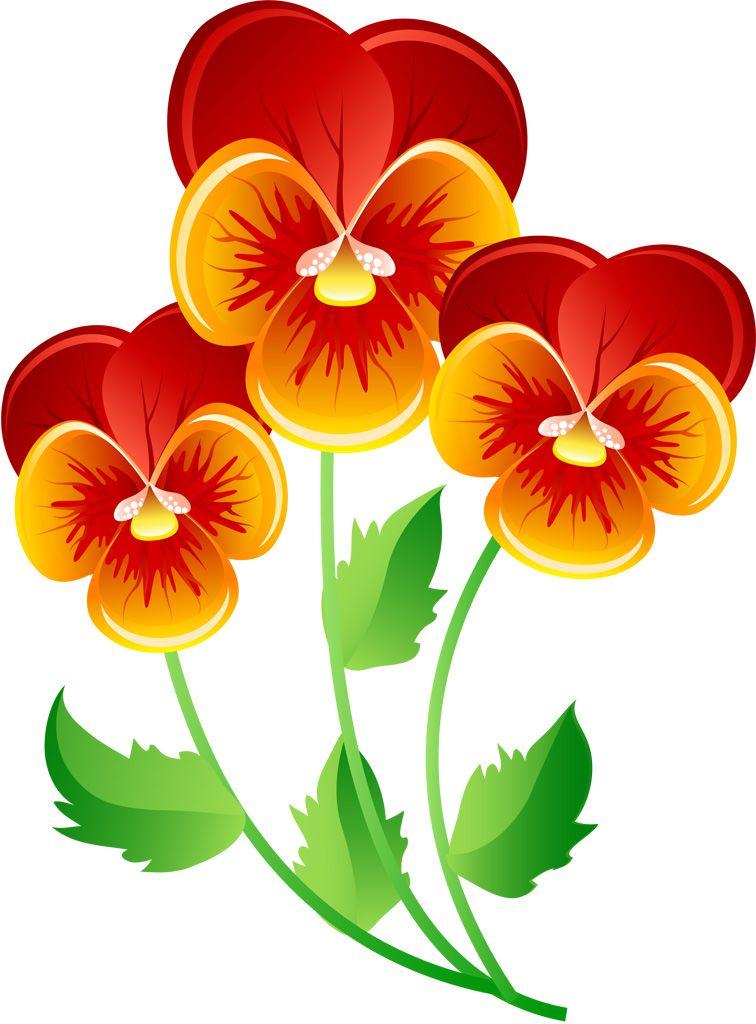 フリーイラスト素材 クリップアート パンジー 花 植物 オレンジ色の
