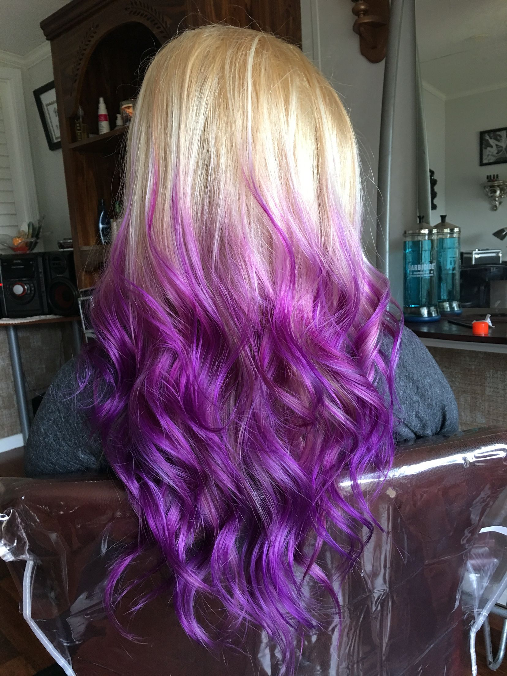 Purple Hair Ombre Blonde With Images Blonde Hair Color