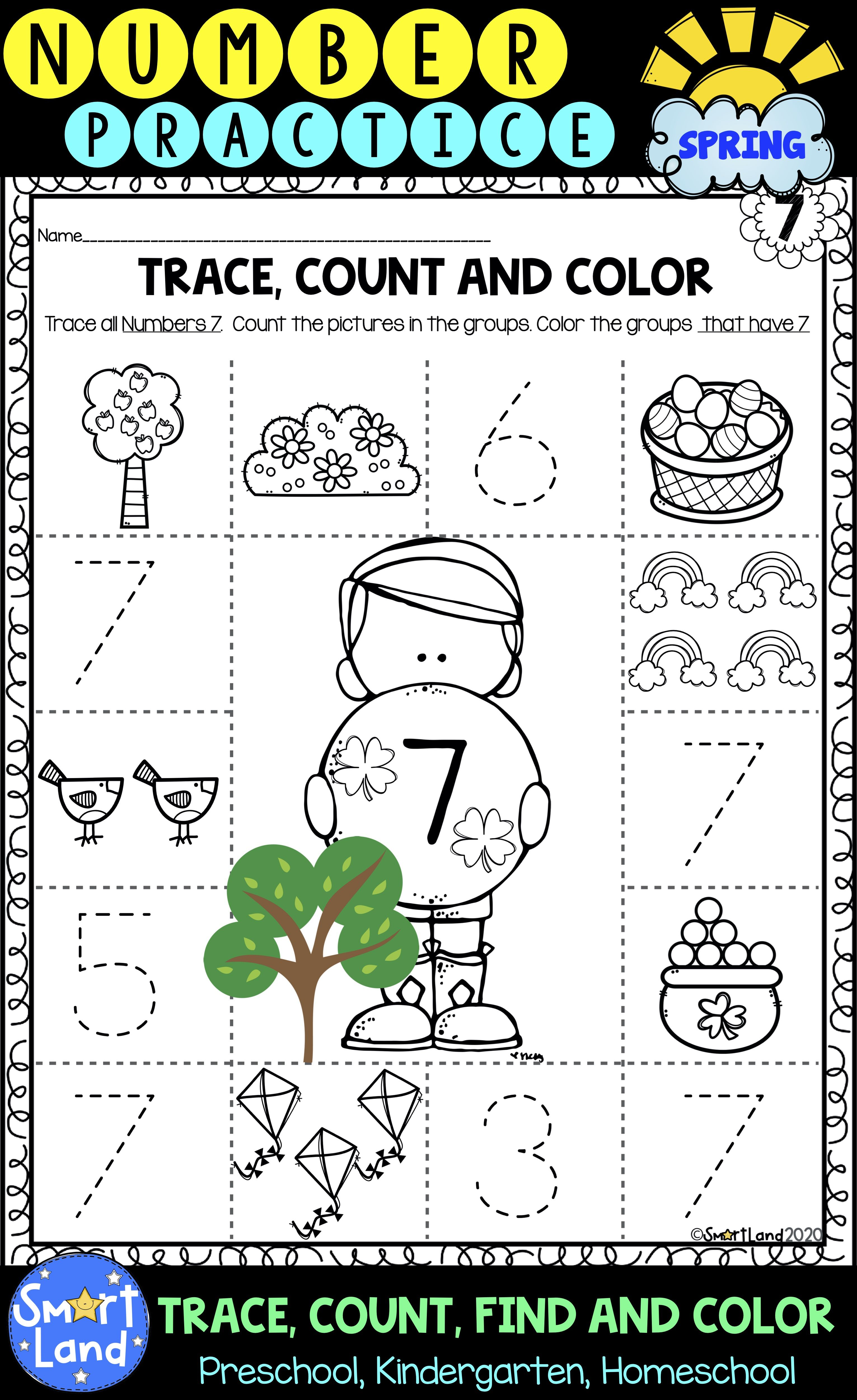 Numbers 1 10 Counting Tracing And Identifying Worksheets Spring Edition Numbers Preschool Basic Math Skills Preschool Math Worksheets [ 5000 x 3062 Pixel ]