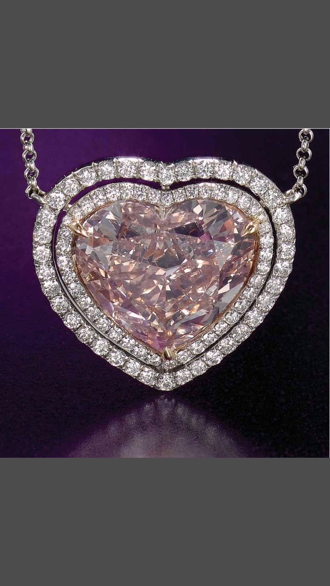 Precious Pink Diamond White Gold 18 K Shape Of Heart Pendant It S Beautiful And Feminine Slvh Pink Heart Necklace Pink Diamond Heart Necklace Diamond