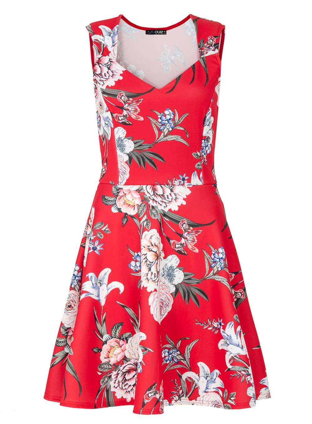 Womens quiz red floral print skater dress red products