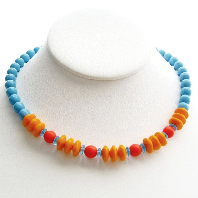 Caribbean Salsa Necklace, Czech Glass. Orange Tangerine, Marine Blue, Tropical Jewelry, Beach Jewelry, Summer Jewelry, Cruise Wear by gallerialinda on Etsy