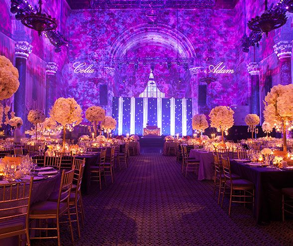 Held at cipriani in new york city this glamorous purple white held at cipriani in new york city this glamorous purple white and gold wedding junglespirit Image collections