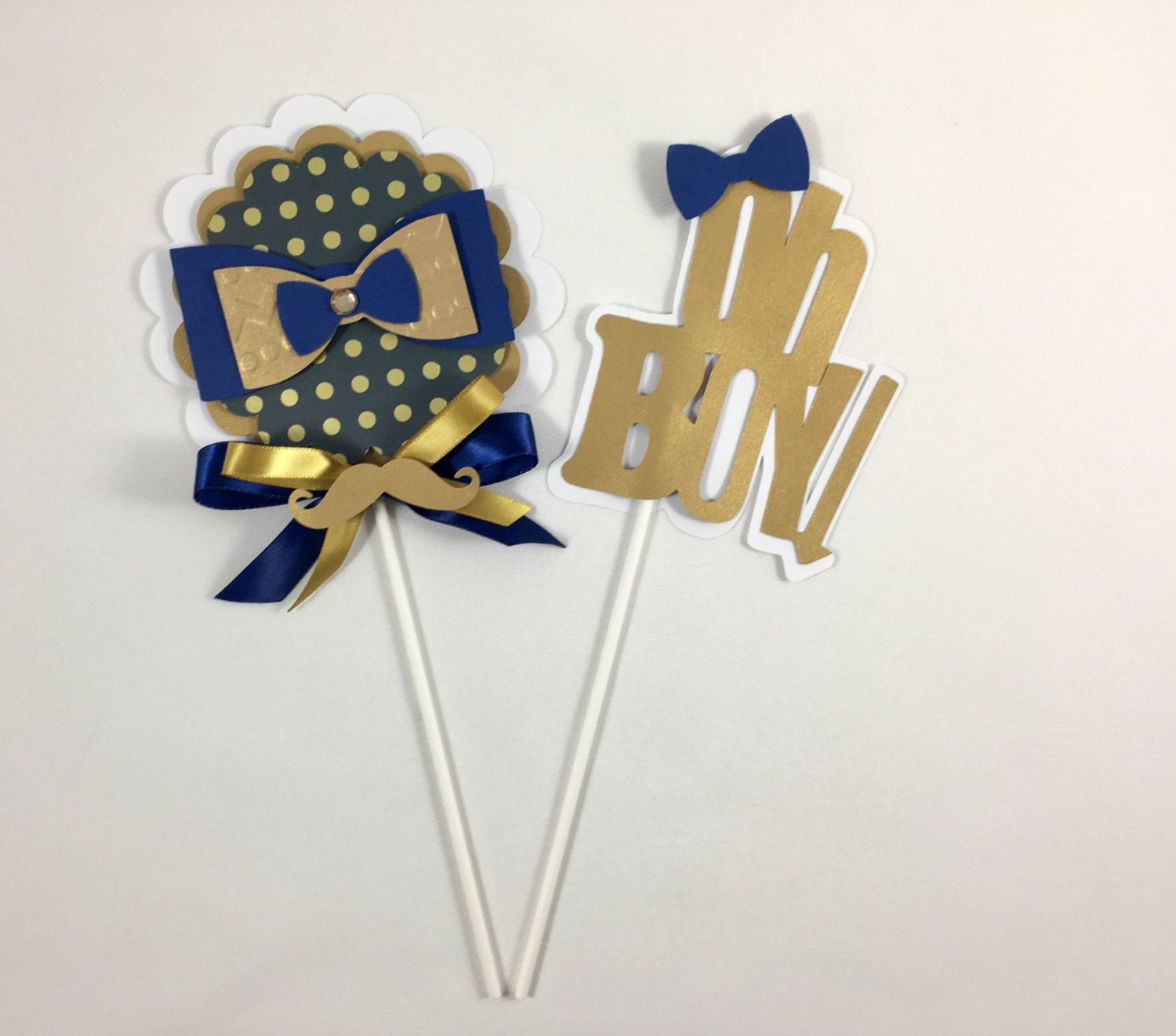 Bow tie centerpieces stick Oh boy theme Oh boy baby shower Bow