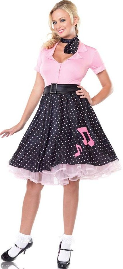 dce109446987a SOCK UP SWEETIE COSTUME - 1950 AMERICAN DANCE OUTFIT - 1950\'S JUKEBOX GIRL  UNIFORM - GREASE FANCY DRESS