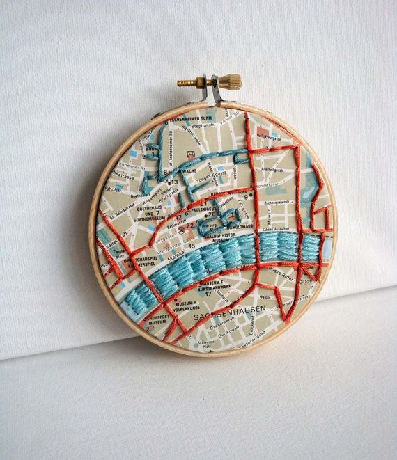 Embroidered map in hoop frankfurt embroidery etsy and