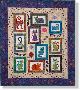 Cat's Meow Full Set Pre-Cut Pre-Fused Applique Kit | quilts-cat ... : cats meow quilt pattern - Adamdwight.com