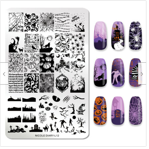 Nicole Diary Nicole Diary L12 Halloween Big Plate Jack O Lantern Spider Web Witch Pumpkins Mansion Gr Nail Art Stencils Nail Stamping Nail Stamping Plates
