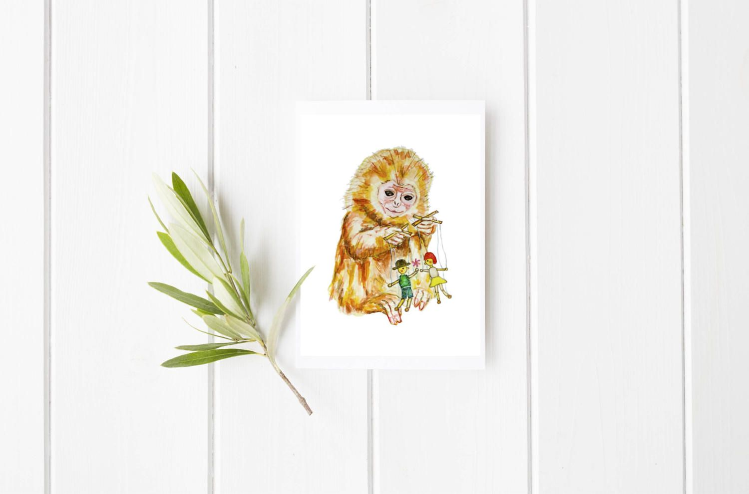 Monkey And Puppet Greeting Card Monkey Card Puppet Card Blank