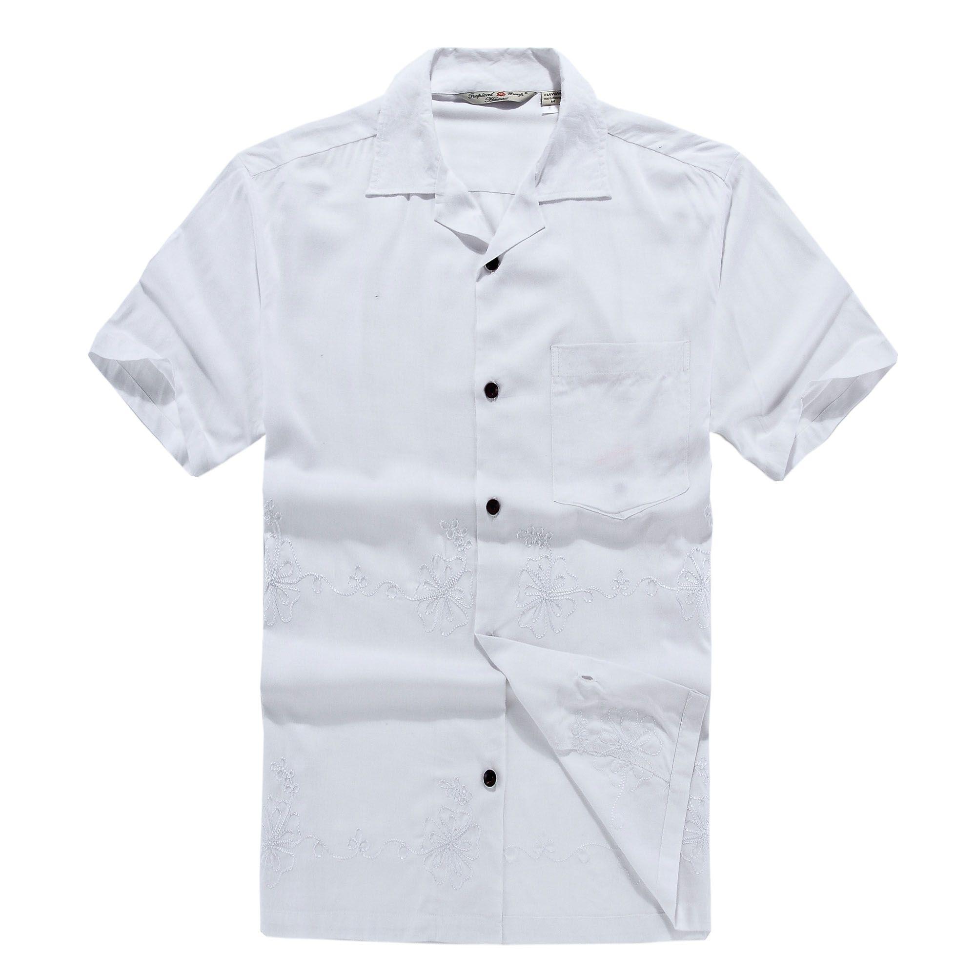 Wedding dress shirts for men  Men Hawaiian Aloha Shirt in Wedding White  Products  Pinterest
