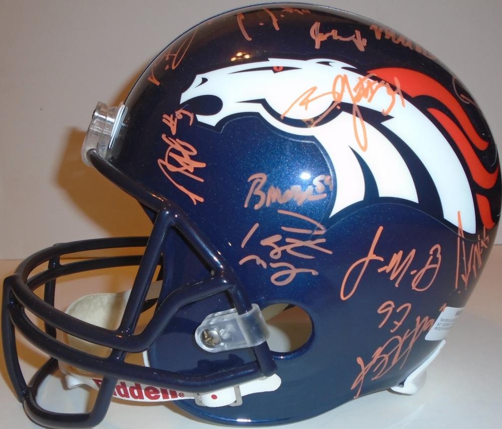 fefa899f5fb 2014-2015 Denver Broncos Team Autographed Riddell Full Size Deluxe Replica Football  Helmet