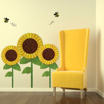 Sunflower Wall Stickers Sunflowers Bees Decals For Baby Room Mural