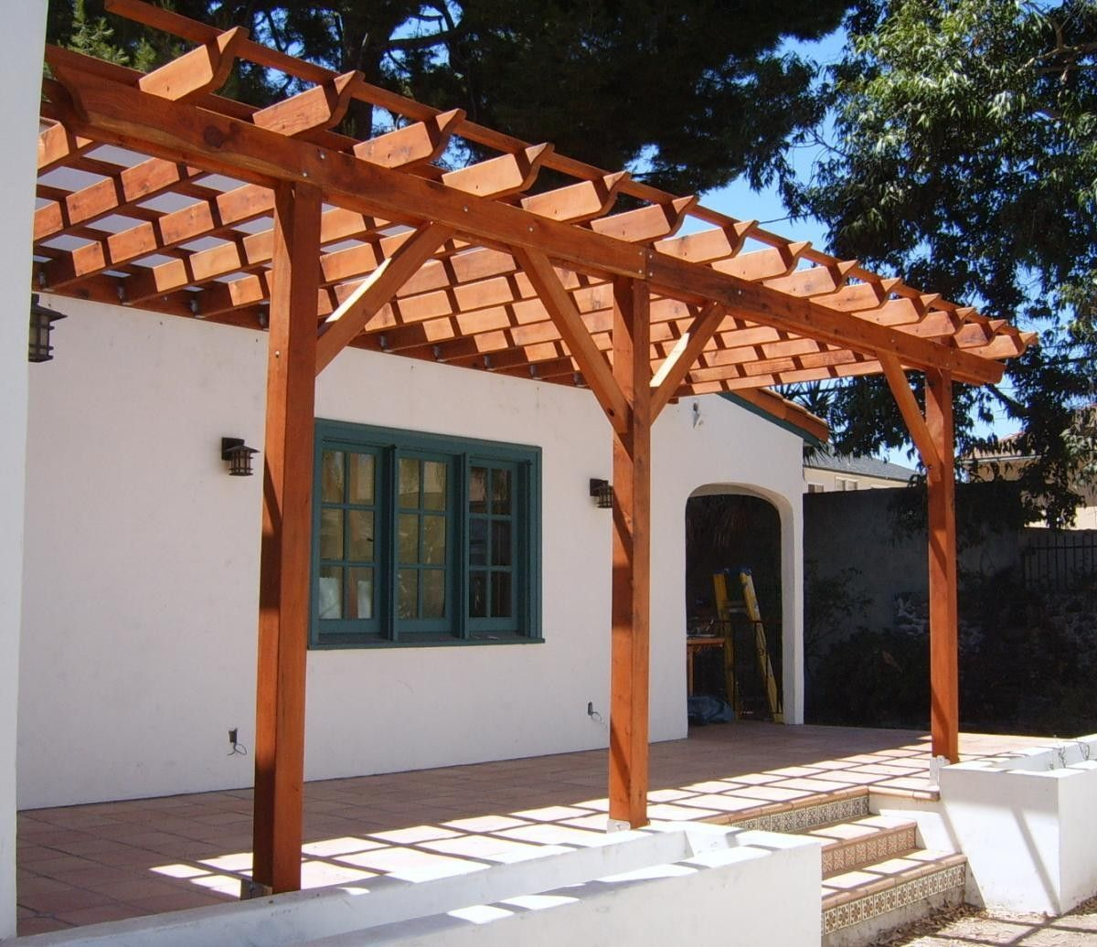 Blueprints For Patio Decks: Pergola Attached To House