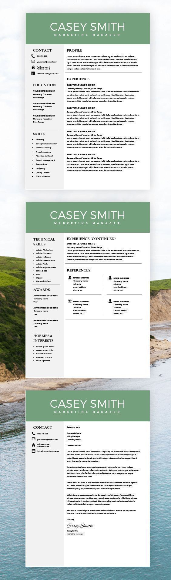 Resume Template For Word With Cover Letter  Instant Download Resume  2 Page Cv Template  Simple