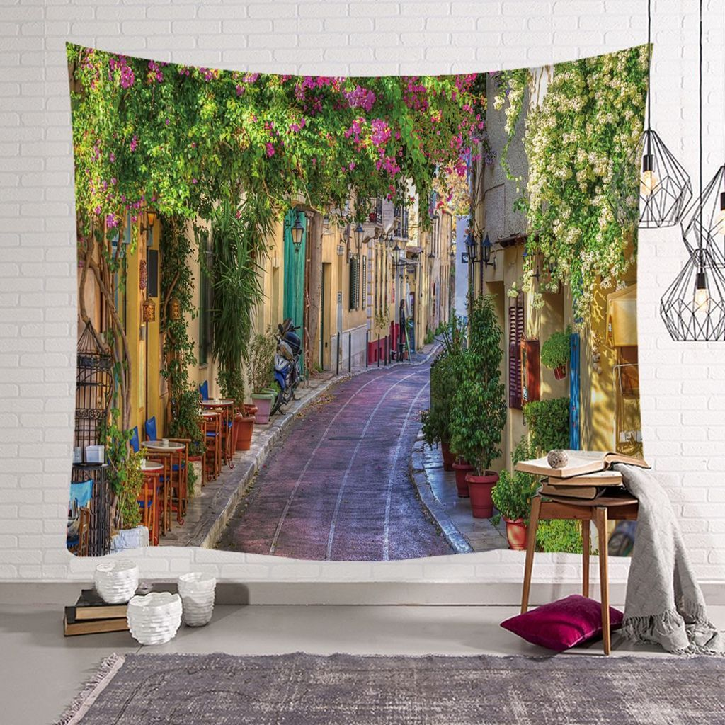 Ins nordic european town bedroom decoration fabric wall