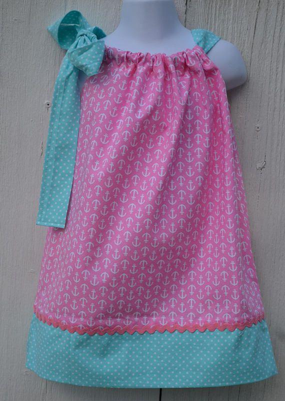 Girls Nautical Dress Pink Dress Boating Dress Tie Dress