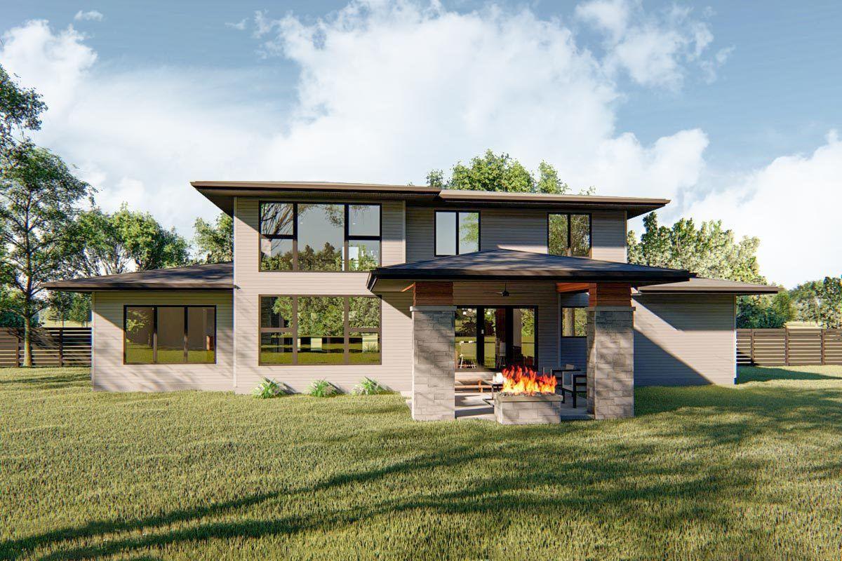 Plan 62750dj 4 Bed House Plan Blending Modern And Prairie Style Elements Prairie Style Houses House Plans Prairie Style