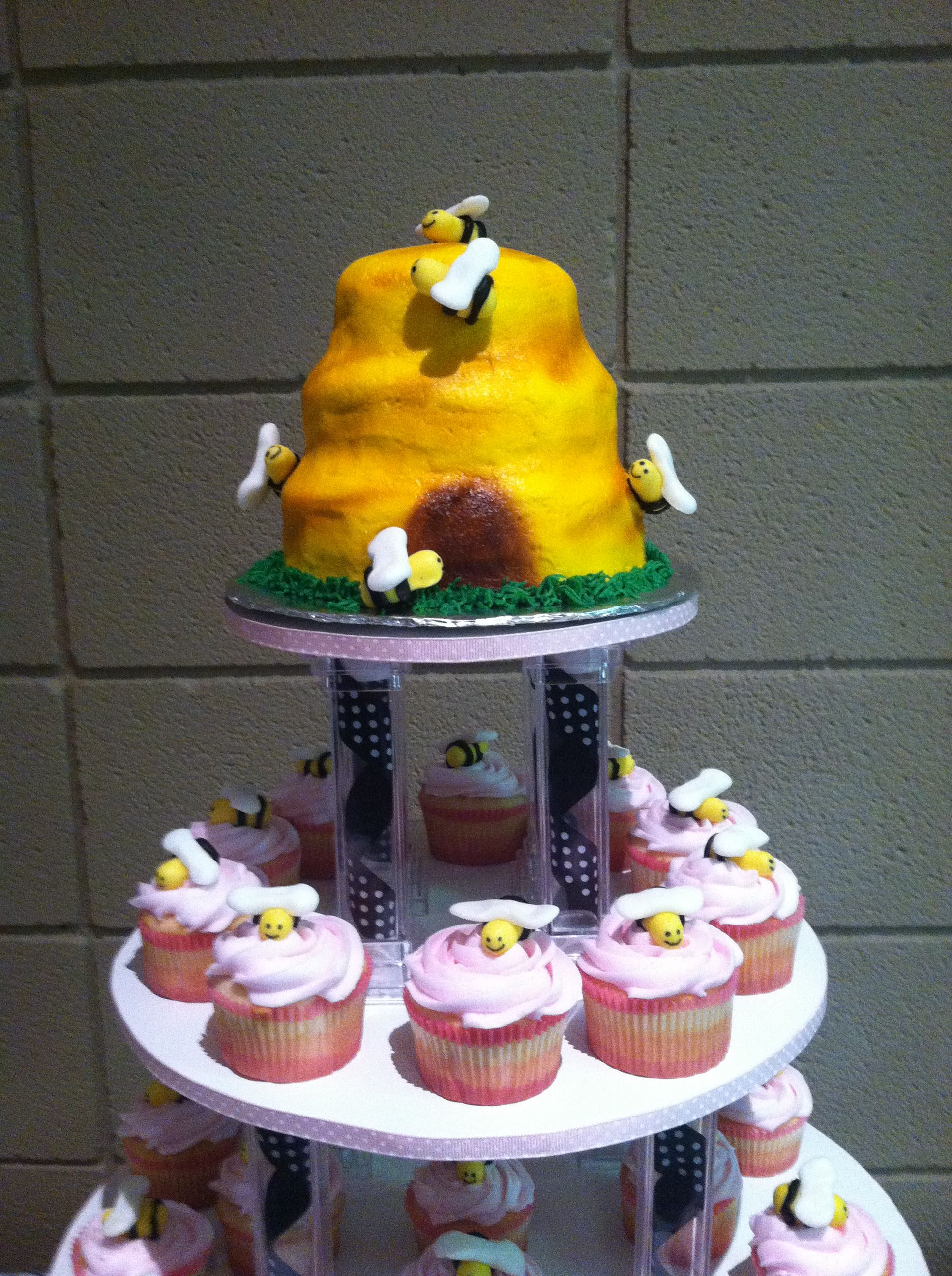 Bumblebee baby shower cake and cupcakes baby shower