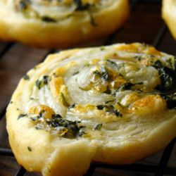 Spinach, Gouda, & mushroom pinwheels made with puff pastry.