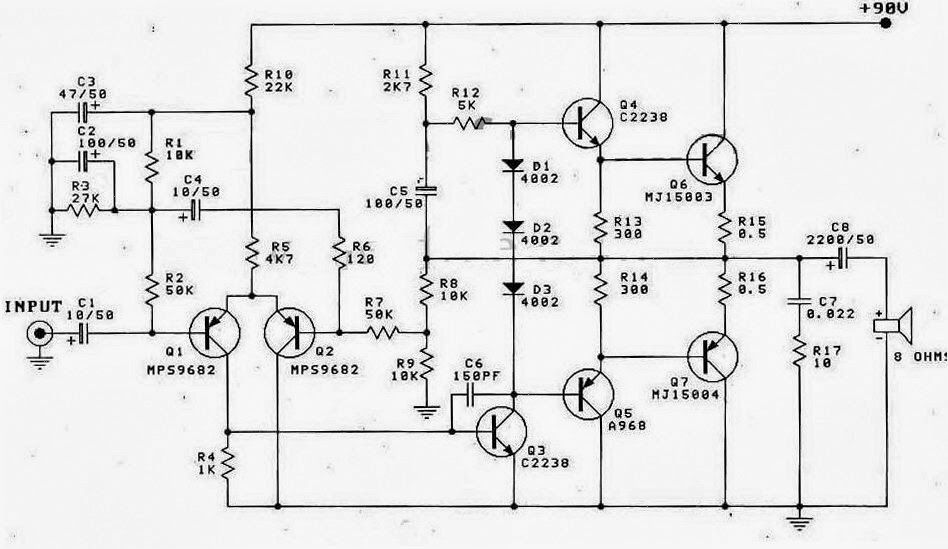 watt btl audio amplifier circuit diagram